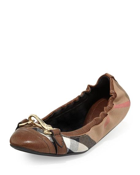 Shipley Scrunch Check Ballerina Flat, Dark Tan