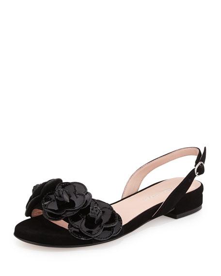 Taryn Rose Ida Suede Flower Slingback Sandal