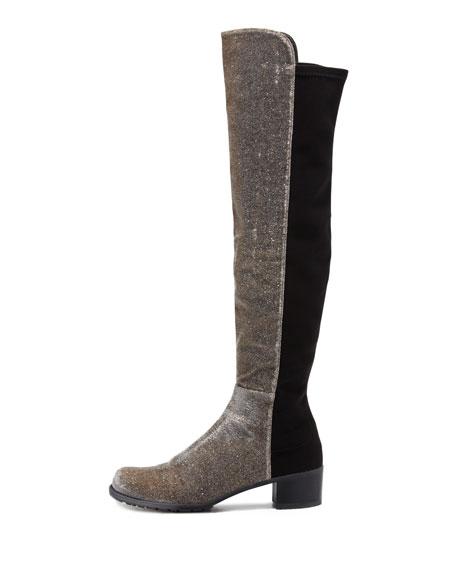 Reserve Narrow Stretch Metallic Over-the-Knee Boot, Pyrite Nocturn