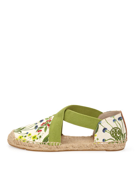 Catalina Strappy Printed Espadrille Flat, Ivory