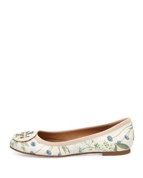 Reva Botanical-Print Leather Ballerina Flat