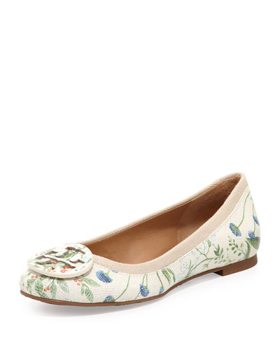 Tory Burch Reva Botanical-Print Leather Ballerina Flat