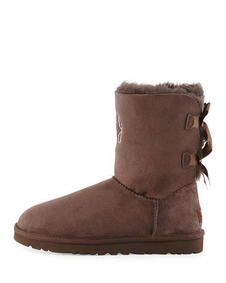 Bailey Bow-Back Short Boot, Chocolate