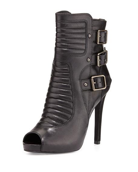 April Stiletto Leather Buckle Bootie, Black