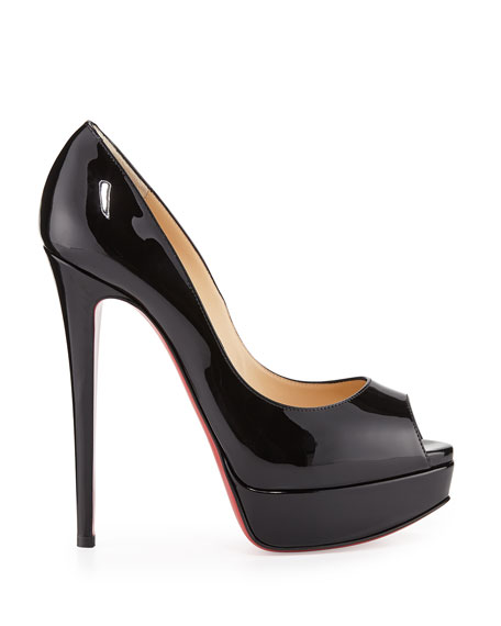 Lady Peep Patent Red Sole Pump
