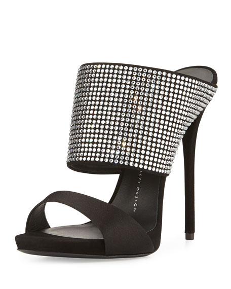 High-Heel Crystal Slide Sandal, Nero