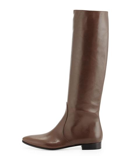 Flat Almond-Toe Knee Boot, Grafite