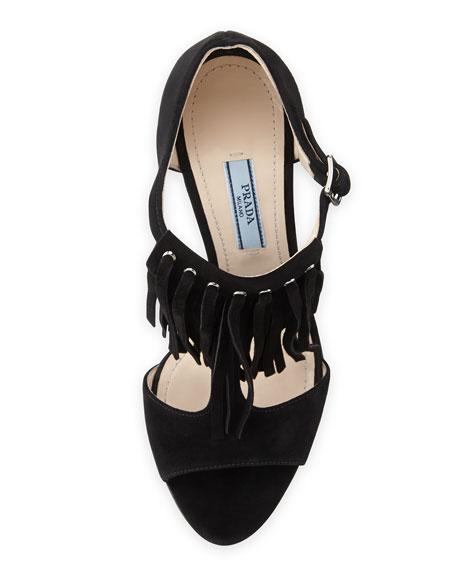 High-Heel Suede Fringe Sandal
