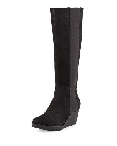 Muny Suede Wedge Boot, Black