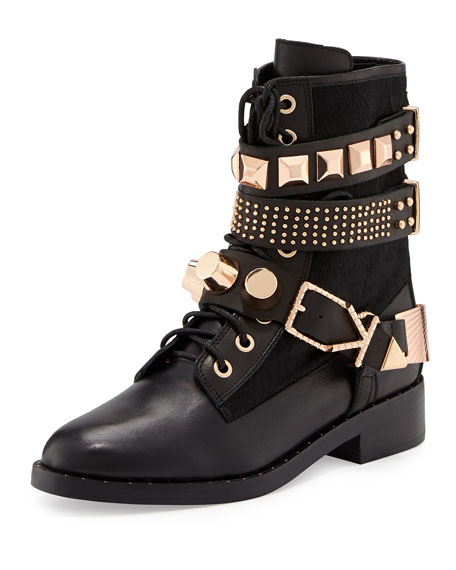 Bowery Studded Leather Moto Boot, Black
