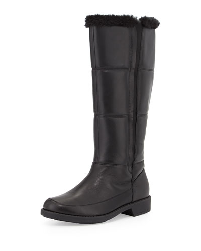 Abbott Faux-Fur Lined Leather Weather Boot, Black