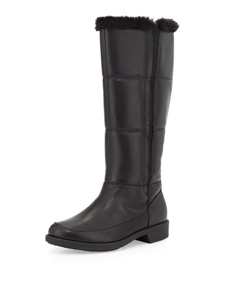 Taryn RoseAbbott Faux-Fur Lined Leather Weather Boot, Black
