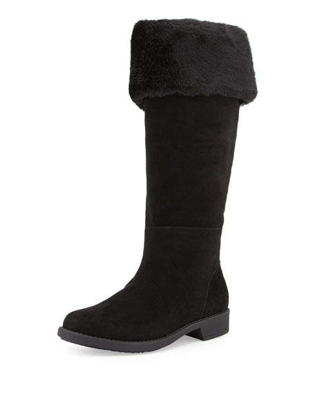 Taryn Rose Avis Faux-Fur-Lined Suede Weather Boot, Black