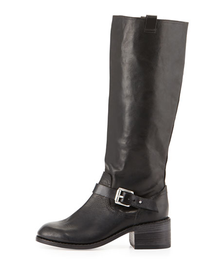 Norton Buckled Leather Knee Boot, Black