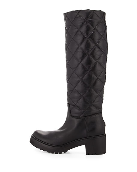 Marie Quilted Leather Boot, Black