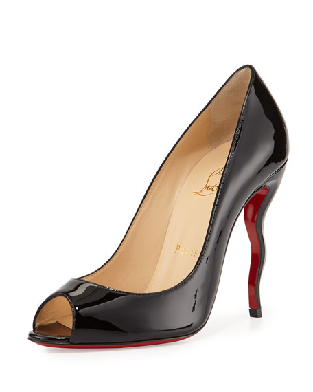 Jolly Patent Squiggle-Heel Red Sole Pump, Black