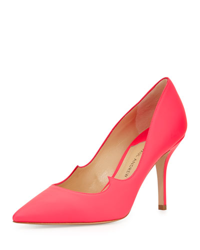 Rubberized Patent Leather Signature Pump, Neon Rose