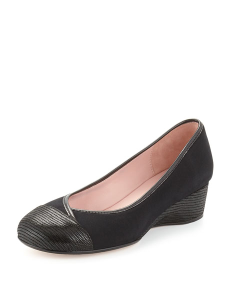 Taryn Rose Merwyn Stretch Cap-Toe Wedge, Black