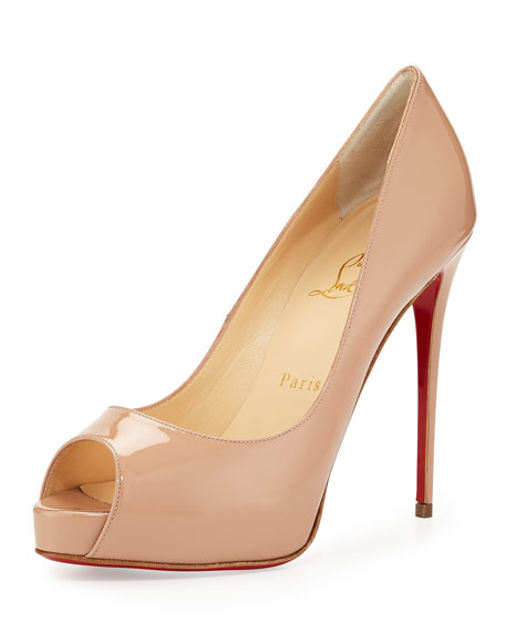 New Very Prive Patent Red Sole Pump, Nude