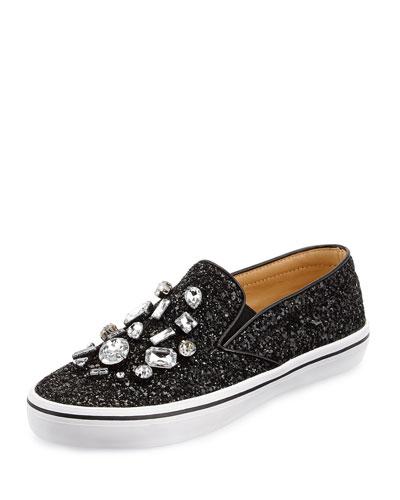 slater glitter & crystal slip-on sneaker, black