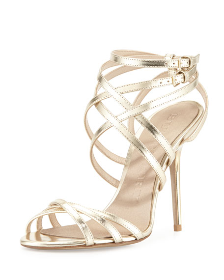 Burberry Strappy Metallic Sandal, Light Gold