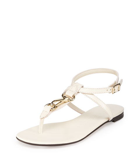 Leather Flat Thong Sandal with Horsebit, Cream