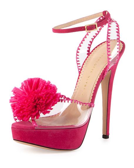 Pomeline Mesh Pom-Pom Platform Sandal