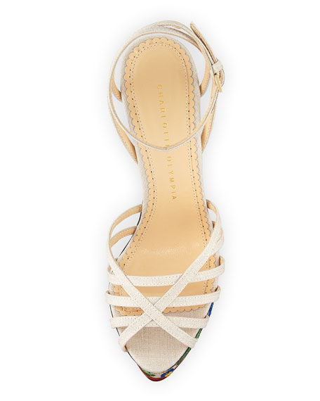 Charlotte Olympia Celebration Meredith Embroidered-Wedge Sandal