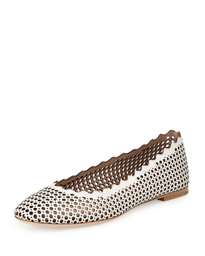 Perforated Leather Ballerina Flat, White