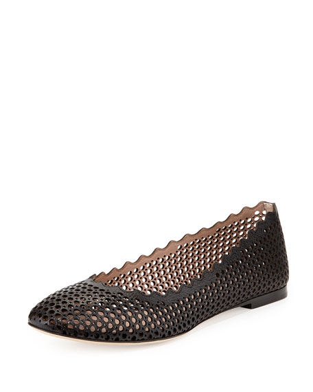 Chloe Perforated Leather Ballet Flat Black Neiman Marcus