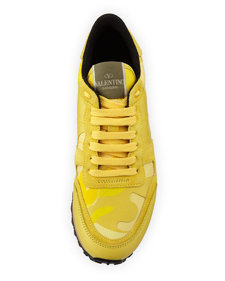 Valentino Camouflage Rockstud Sneaker, Naples Yellow
