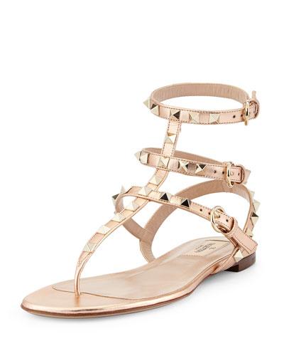 Rockstud Ankle-Wrap Thong Sandal, Metal Rose