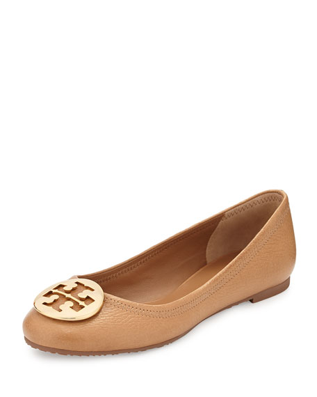 tory burch reva leather ballerina flat tan neiman marcus. Black Bedroom Furniture Sets. Home Design Ideas