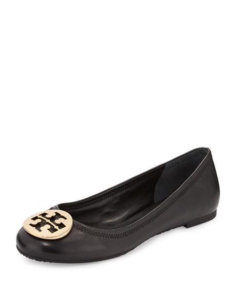 Reva Leather Ballerina Flat, Black
