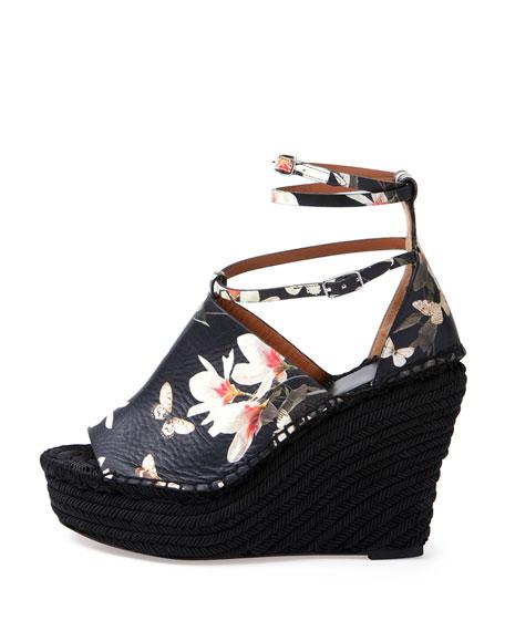 Floral-Print Wedge Sandal, Black