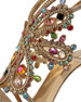 Multi-Crystal Strappy Sandal, Gold/Multi