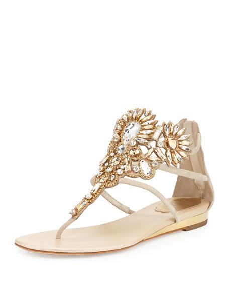 Rene Caovilla Chandelier Swarovski Crystal Thong Sandal,