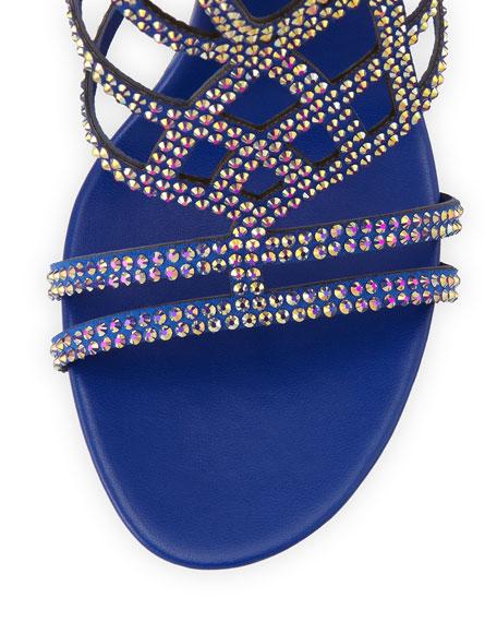 Knee-High Crystal Gladiator Sandal, Blue/Gold