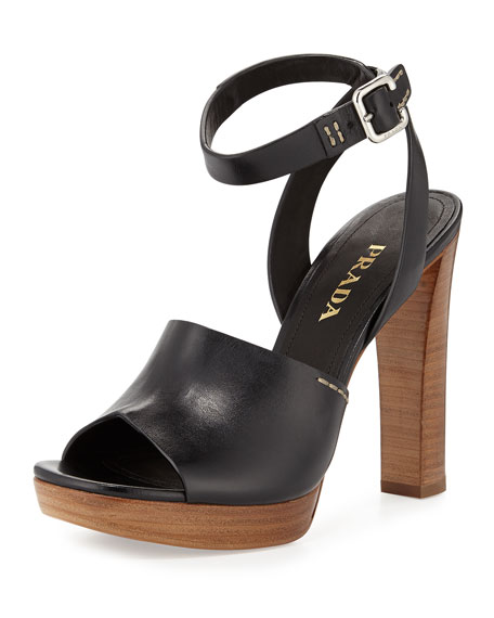 Prada Leather Ankle-Wrap Sandal, Black
