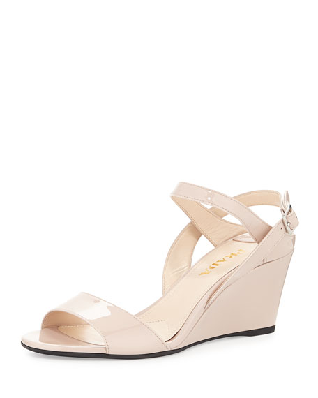 Prada Patet Leather Wedge Sandals Manchester cheap online free shipping low shipping discount visit new zqo3eHZiwr