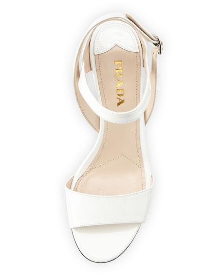 Patent Wedge Sandal, Bianco