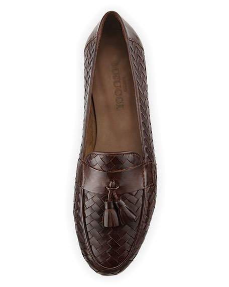 Nedra Woven Leather Loafer with Tassel, Khaki