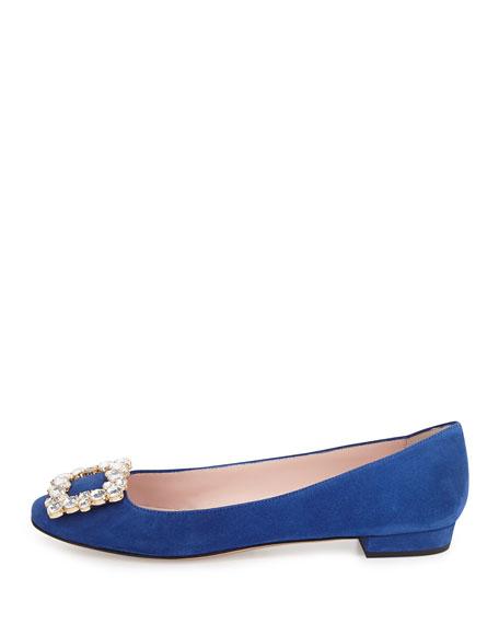 norella crystal-buckle suede ballerina flat, blue