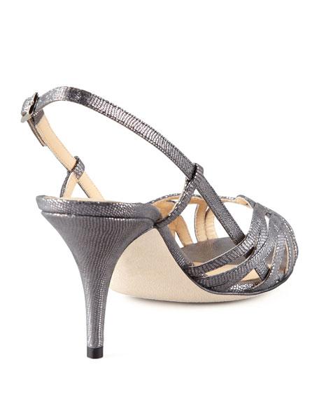 shari metallic lizard-print sandal