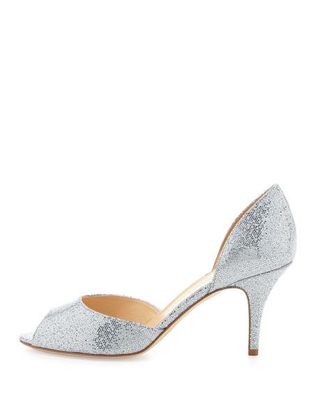 sage glitter peep-toe d'orsay pump, silver