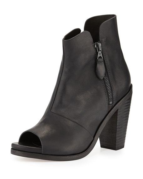 Noelle Peep-Toe Leather Ankle Boot, Black