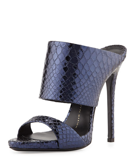 Metallic Python-Embossed Slide Sandal, Navy