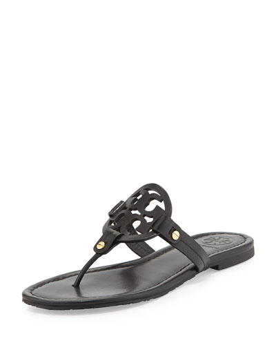 Miller Flat Leather Thong Sandal, Black