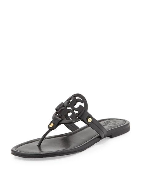 Miller Flat Leather Thong Sandal, Black