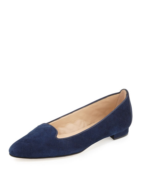 Manolo Blahnik Yak Quilted Suede Smoking Slipper, Navy